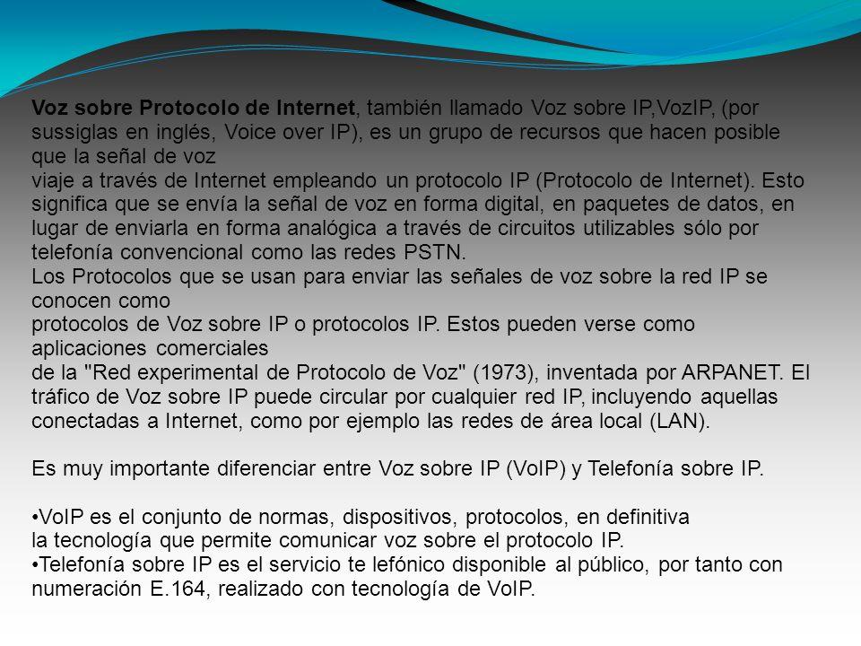 Voz sobre Protocolo de Internet, también llamado Voz sobre IP,VozIP, (por sussiglas en inglés, Voice over IP), es un grupo de recursos que hacen posib