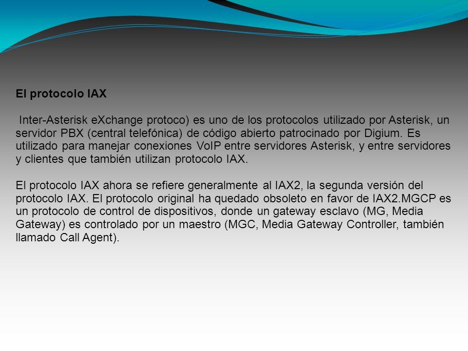 El protocolo IAX Inter-Asterisk eXchange protoco) es uno de los protocolos utilizado por Asterisk, un servidor PBX (central telefónica) de código abie