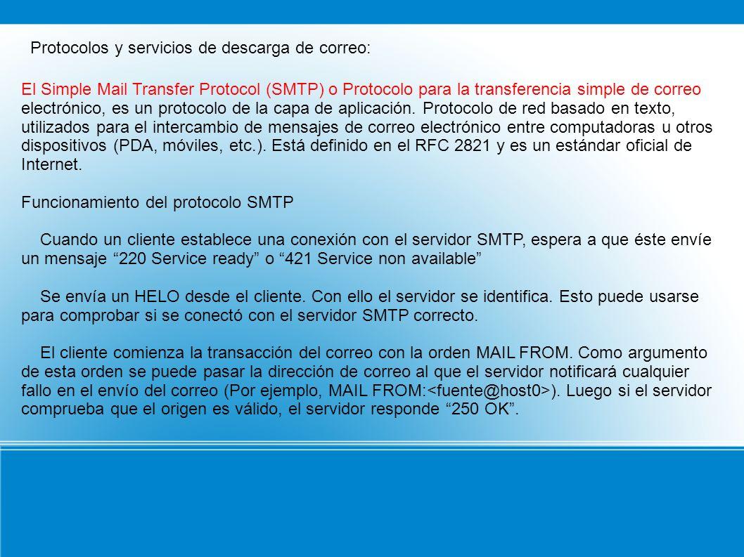 Protocolos y servicios de descarga de correo: El Simple Mail Transfer Protocol (SMTP) o Protocolo para la transferencia simple de correo electrónico,