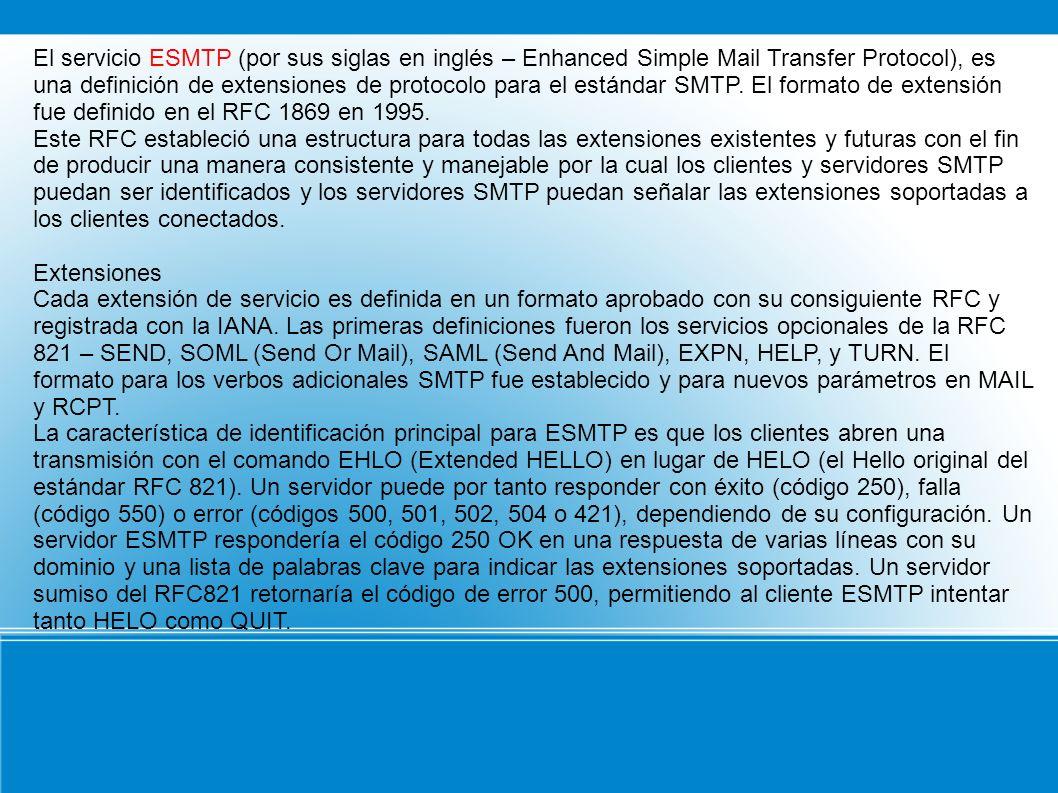 El servicio ESMTP (por sus siglas en inglés – Enhanced Simple Mail Transfer Protocol), es una definición de extensiones de protocolo para el estándar