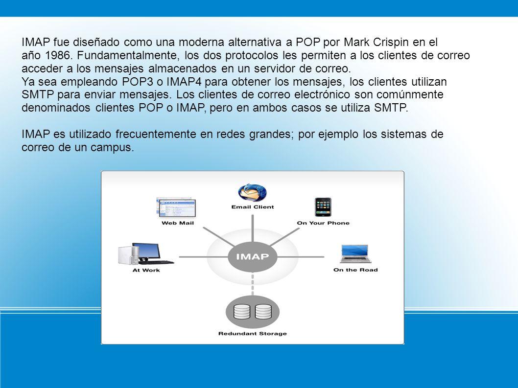 IMAP fue diseñado como una moderna alternativa a POP por Mark Crispin en el año 1986. Fundamentalmente, los dos protocolos les permiten a los clientes