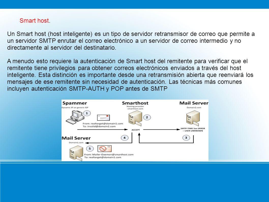 Smart host. Un Smart host (host inteligente) es un tipo de servidor retransmisor de correo que permite a un servidor SMTP enrutar el correo electrónic