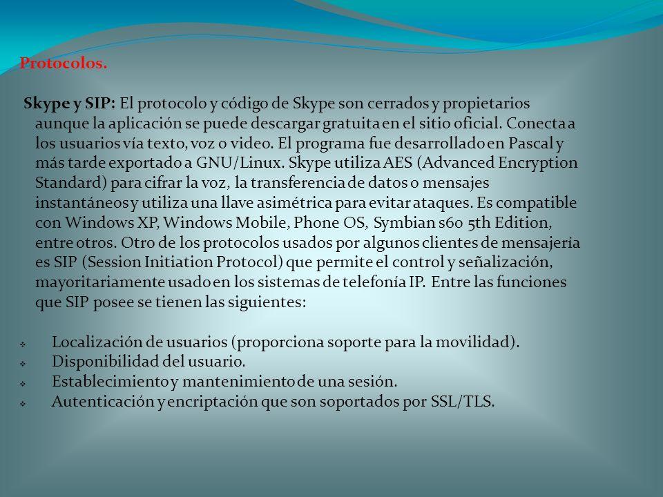 Protocolos. Skype y SIP: El protocolo y código de Skype son cerrados y propietarios aunque la aplicación se puede descargar gratuita en el sitio ofici