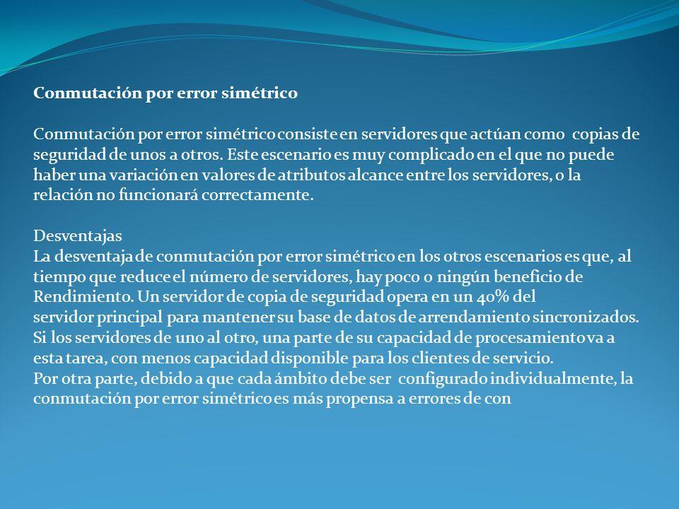 Conmutación por error simétrico Conmutación por error simétrico consiste en servidores que actúan como copias de seguridad de unos a otros. Este escen