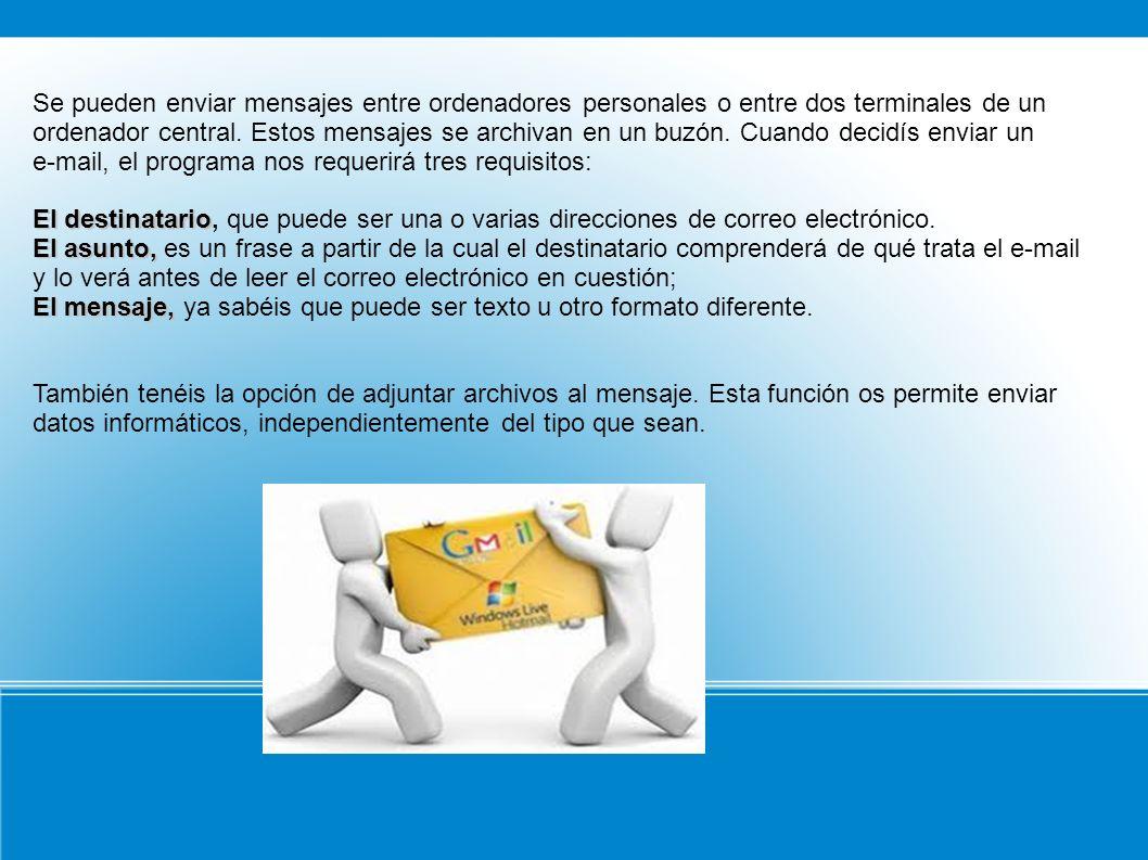 Se pueden enviar mensajes entre ordenadores personales o entre dos terminales de un ordenador central.