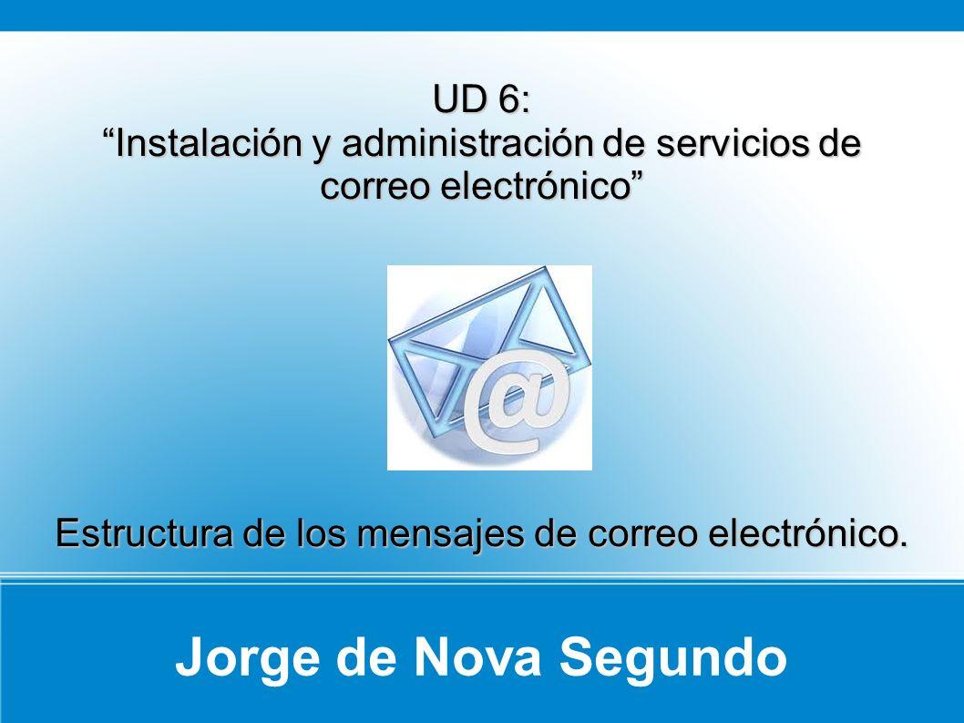 Jorge de Nova Segundo UD 6: Instalación y administración de servicios de correo electrónico Estructura de los mensajes de correo electrónico.
