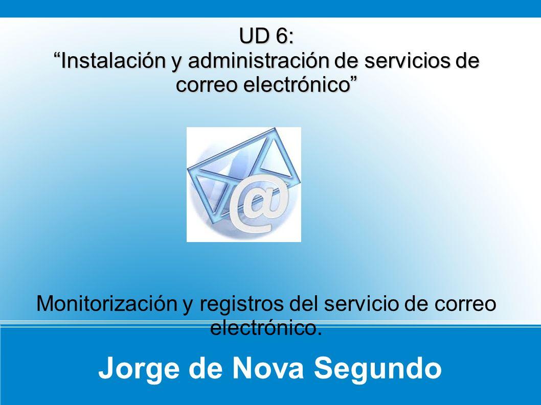Jorge de Nova Segundo UD 6: Instalación y administración de servicios de correo electrónico Monitorización y registros del servicio de correo electrónico.