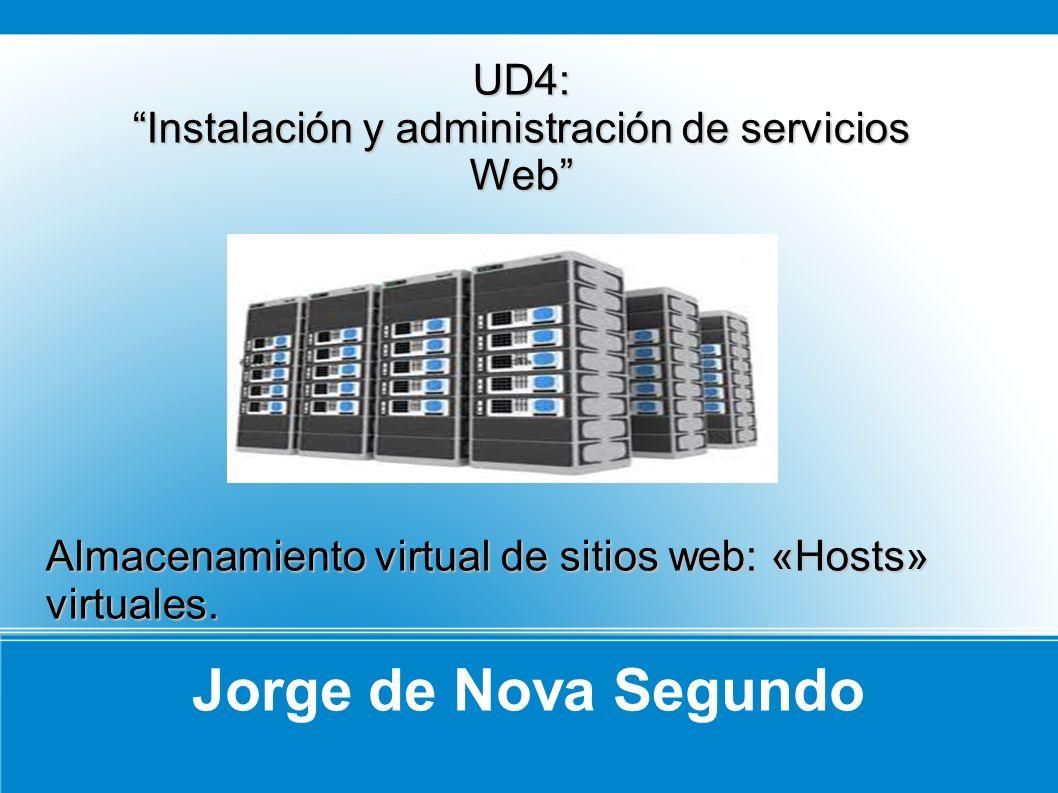 Jorge de Nova Segundo UD4: Instalación y administración de servicios Web Almacenamiento virtual de sitios web: «Hosts» virtuales.