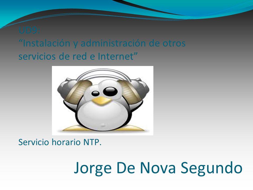 Jorge De Nova Segundo UD9: Instalación y administración de otros servicios de red e Internet Servicio horario NTP.