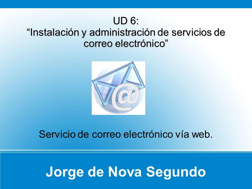 Jorge de Nova Segundo UD 6: Instalación y administración de servicios de correo electrónico Servicio de correo electrónico vía web.