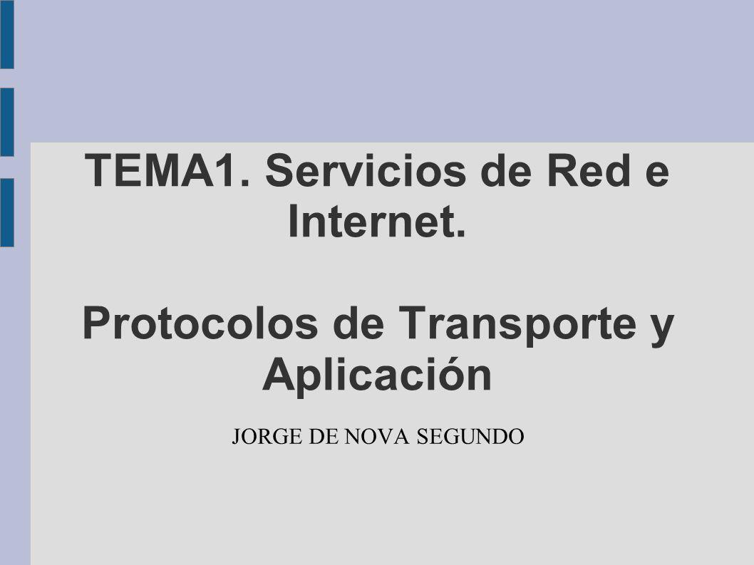 TEMA1. Servicios de Red e Internet. Protocolos de Transporte y Aplicación JORGE DE NOVA SEGUNDO