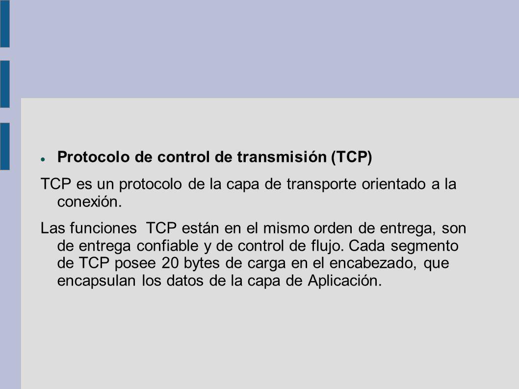 Protocolo de control de transmisión (TCP) TCP es un protocolo de la capa de transporte orientado a la conexión. Las funciones TCP están en el mismo or