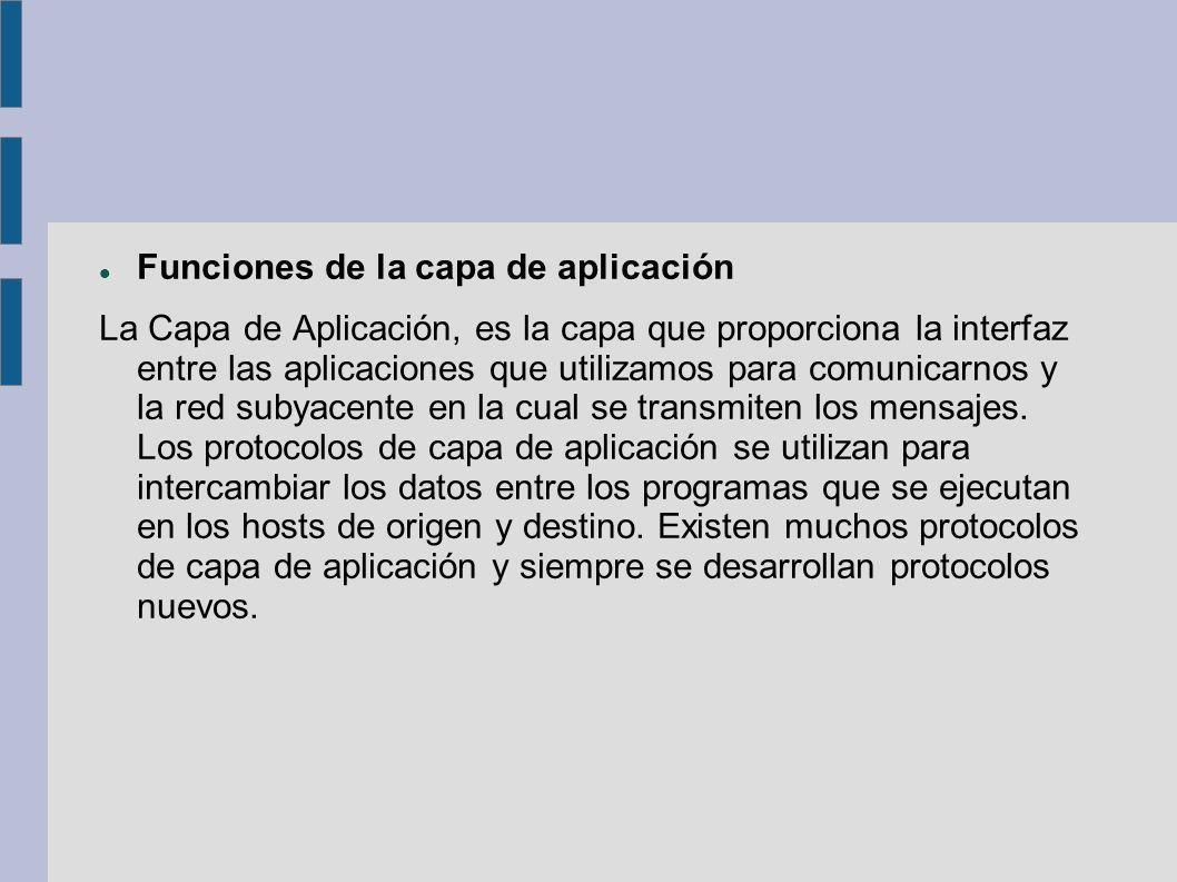Funciones de la capa de aplicación La Capa de Aplicación, es la capa que proporciona la interfaz entre las aplicaciones que utilizamos para comunicarn