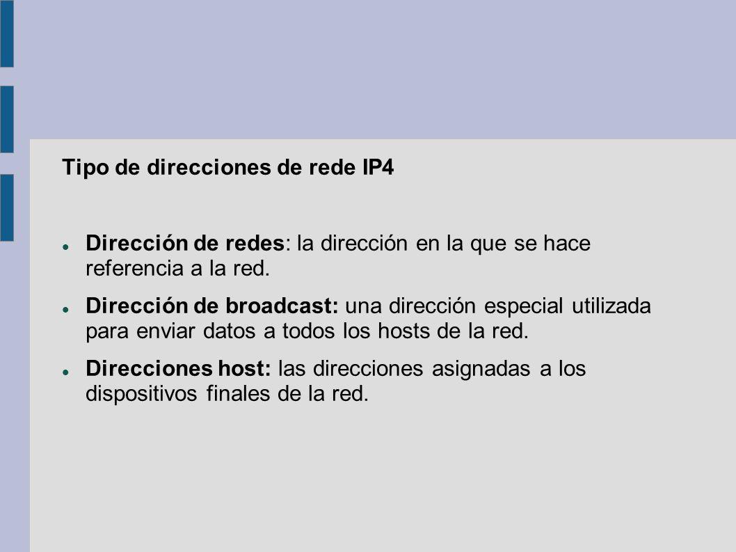 Tipo de direcciones de rede IP4 Dirección de redes: la dirección en la que se hace referencia a la red. Dirección de broadcast: una dirección especial