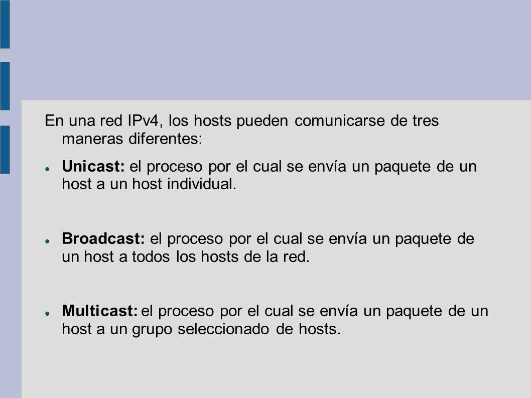 En una red IPv4, los hosts pueden comunicarse de tres maneras diferentes: Unicast: el proceso por el cual se envía un paquete de un host a un host ind