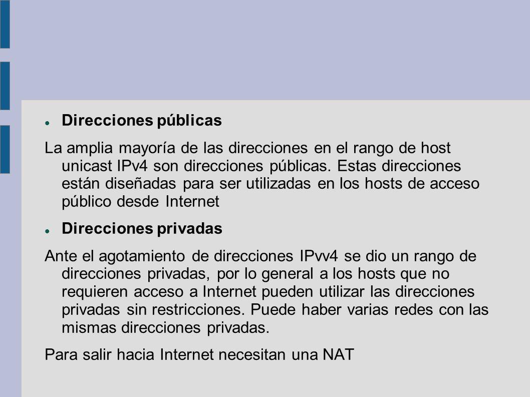 Direcciones públicas La amplia mayoría de las direcciones en el rango de host unicast IPv4 son direcciones públicas. Estas direcciones están diseñadas