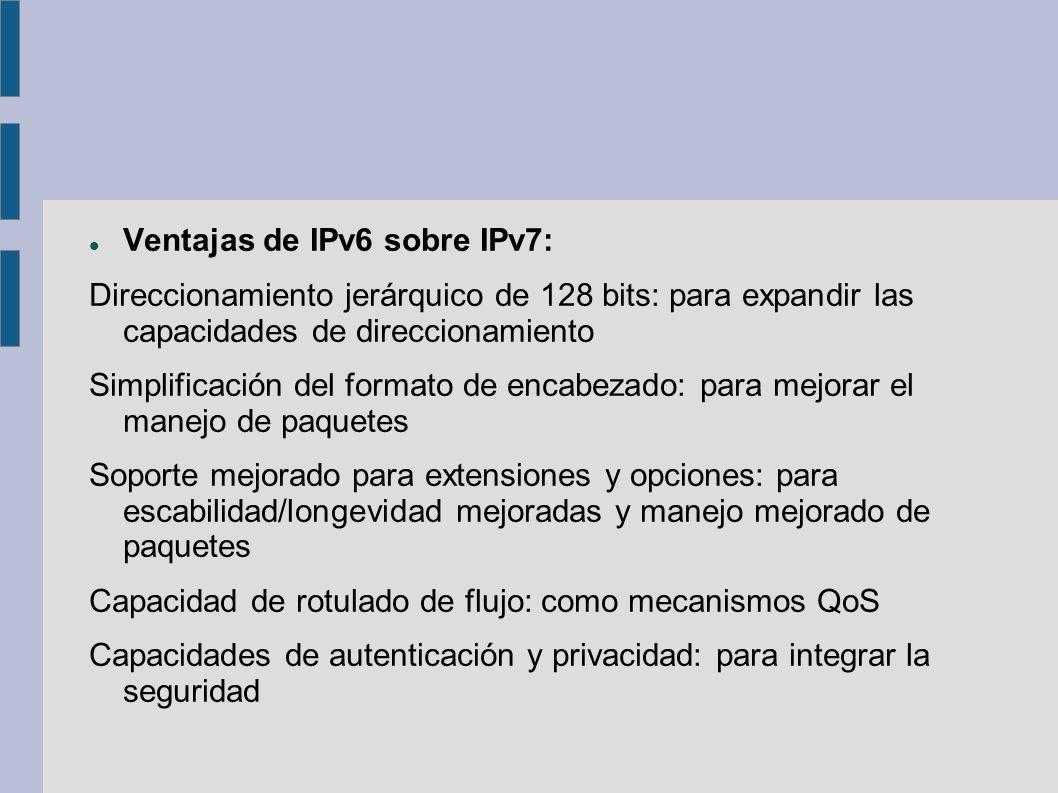 Ventajas de IPv6 sobre IPv7: Direccionamiento jerárquico de 128 bits: para expandir las capacidades de direccionamiento Simplificación del formato de