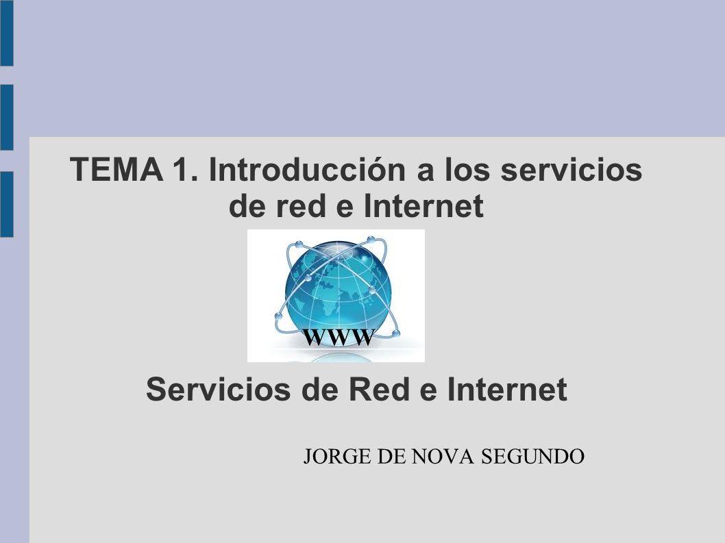 TEMA 1. Introducción a los servicios de red e Internet Servicios de Red e Internet JORGE DE NOVA SEGUNDO