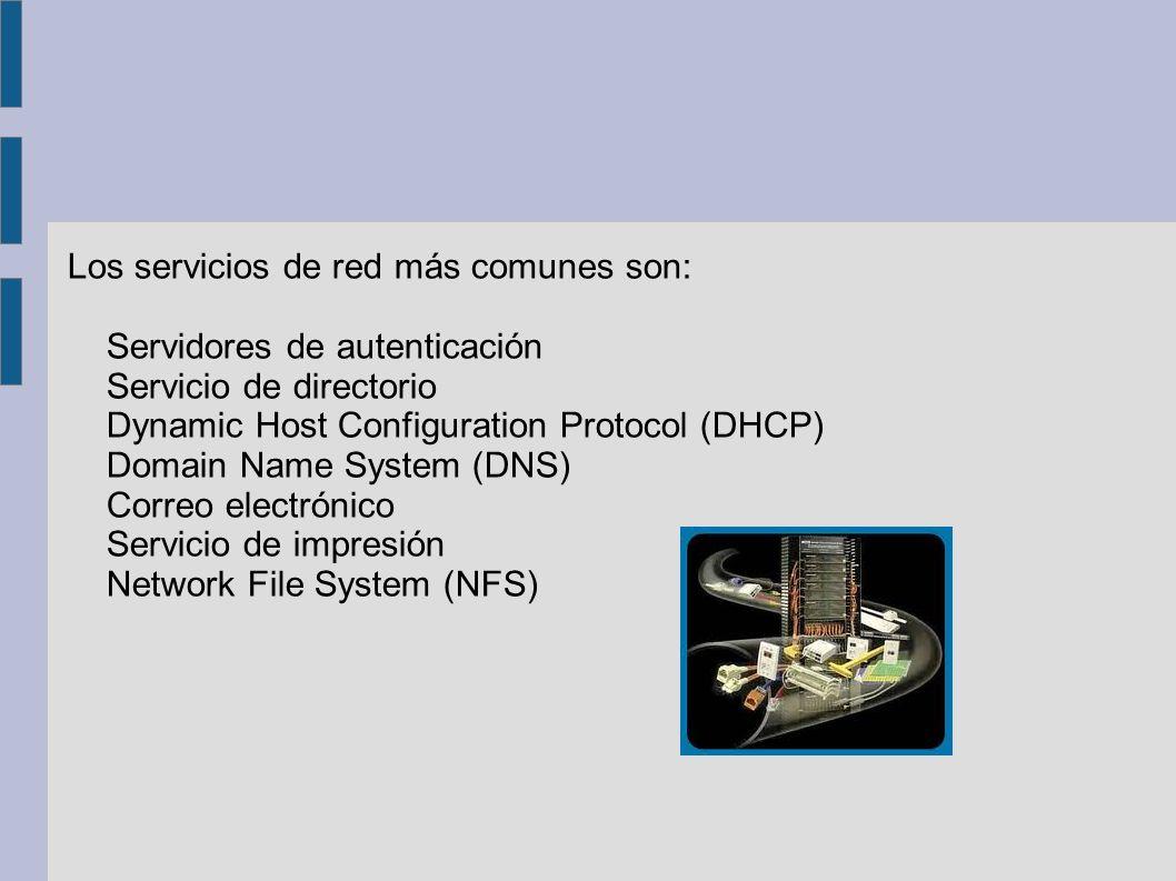 Los servicios de red más comunes son: Servidores de autenticación Servicio de directorio Dynamic Host Configuration Protocol (DHCP) Domain Name System