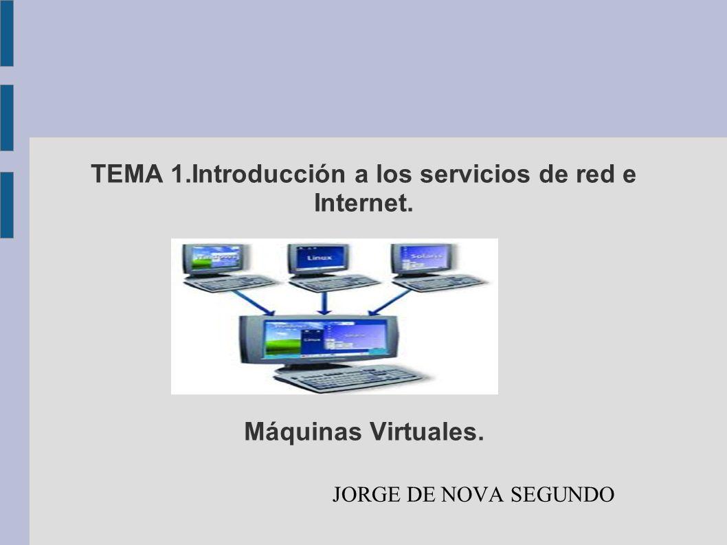TEMA 1.Introducción a los servicios de red e Internet. Máquinas Virtuales. JORGE DE NOVA SEGUNDO