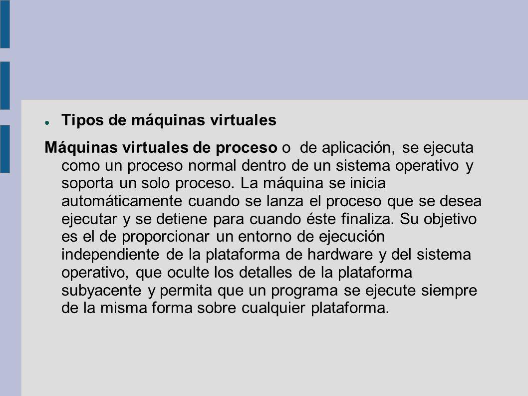 Tipos de máquinas virtuales Máquinas virtuales de proceso o de aplicación, se ejecuta como un proceso normal dentro de un sistema operativo y soporta un solo proceso.