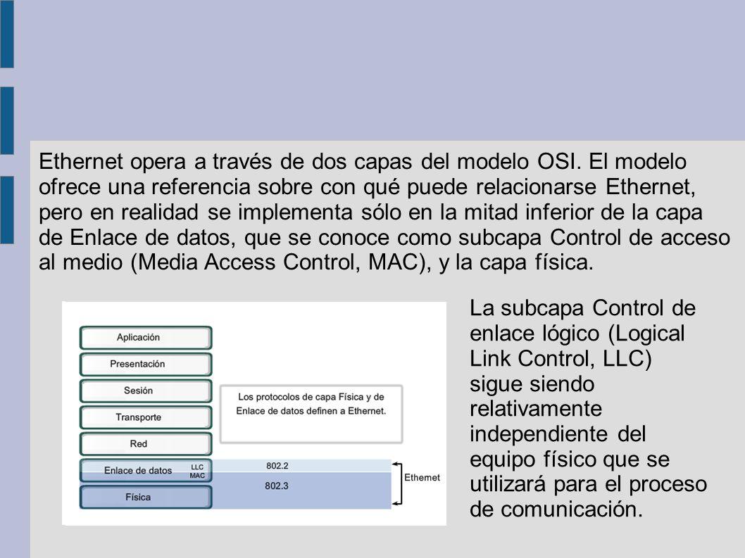 El Control de acceso al medio (MAC) es la subcapa de Ethernet inferior de la capa de Enlace de datos.