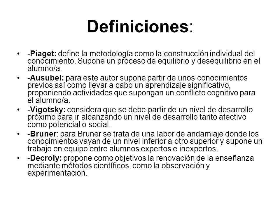 Definiciones: -Piaget: define la metodología como la construcción individual del conocimiento. Supone un proceso de equilibrio y desequilibrio en el a