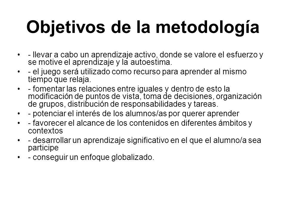 Objetivos de la metodología - llevar a cabo un aprendizaje activo, donde se valore el esfuerzo y se motive el aprendizaje y la autoestima. - el juego