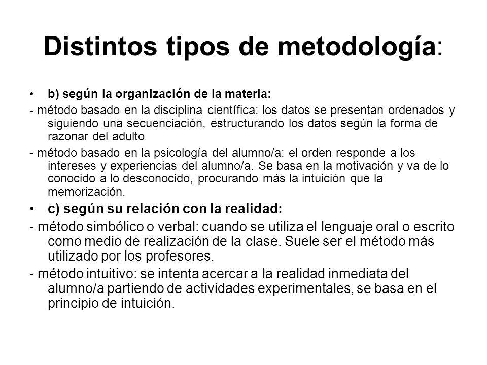 Distintos tipos de metodología: b) según la organización de la materia: - método basado en la disciplina científica: los datos se presentan ordenados