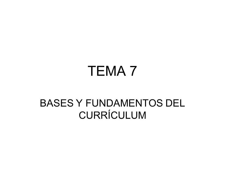 TEMA 7 BASES Y FUNDAMENTOS DEL CURRÍCULUM