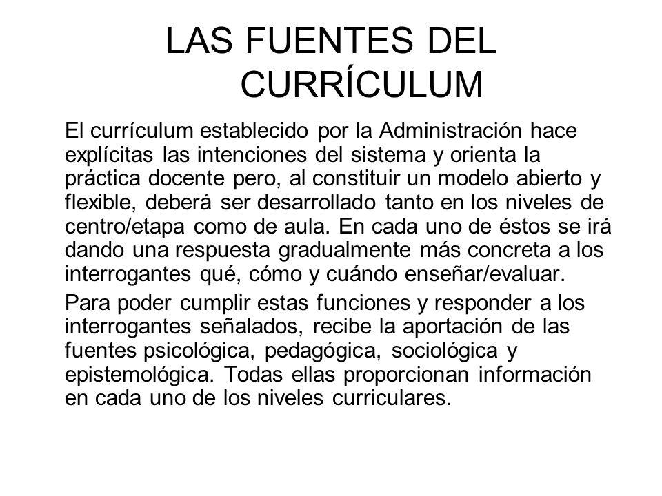 LAS FUENTES DEL CURRÍCULUM El currículum establecido por la Administración hace explícitas las intenciones del sistema y orienta la práctica docente p
