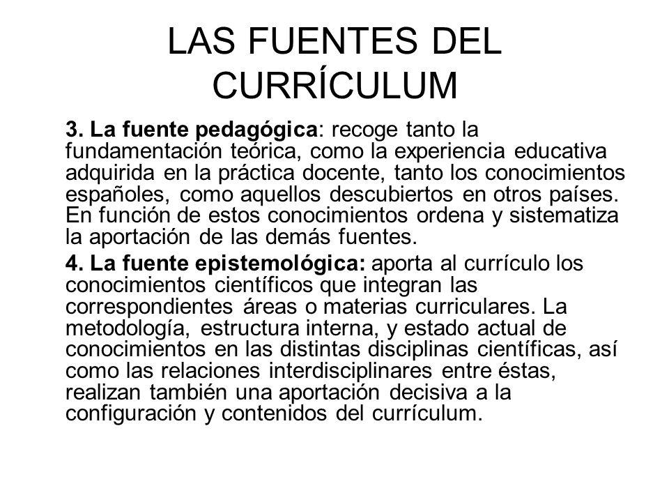LAS FUENTES DEL CURRÍCULUM 3. La fuente pedagógica: recoge tanto la fundamentación teórica, como la experiencia educativa adquirida en la práctica doc