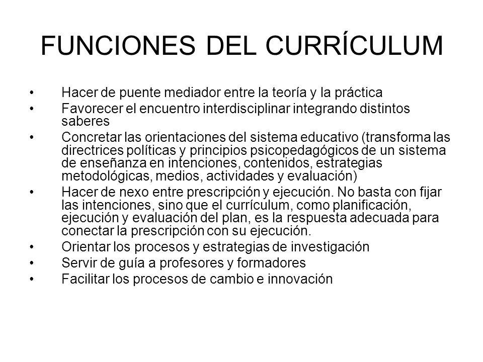 FUNCIONES DEL CURRÍCULUM Hacer de puente mediador entre la teoría y la práctica Favorecer el encuentro interdisciplinar integrando distintos saberes C