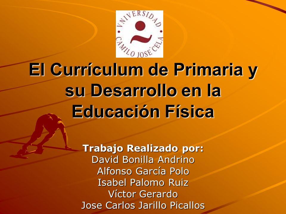 El Currículum de Primaria y su Desarrollo en la Educación Física Trabajo Realizado por: David Bonilla Andrino Alfonso García Polo Isabel Palomo Ruiz V