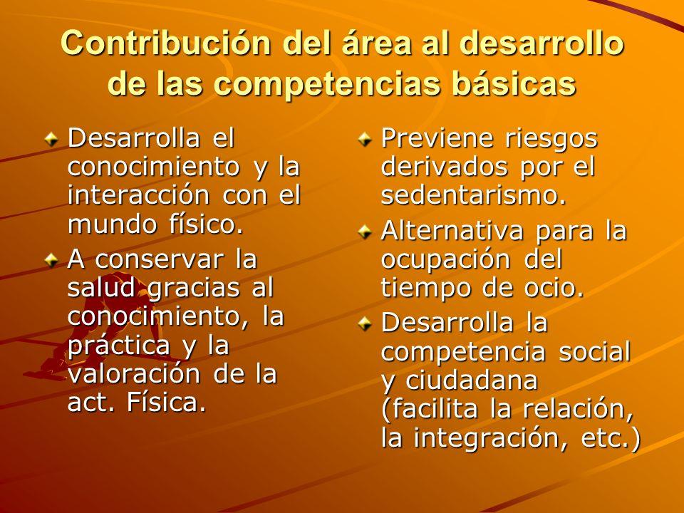 Contribución del área al desarrollo de las competencias básicas Desarrolla el conocimiento y la interacción con el mundo físico. A conservar la salud