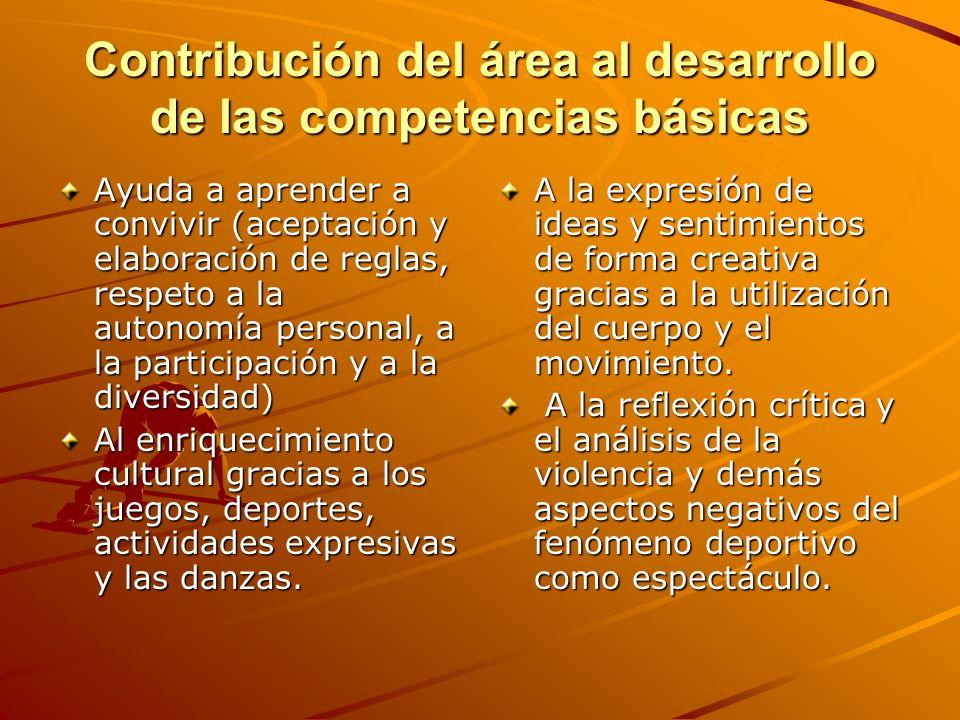 Contribución del área al desarrollo de las competencias básicas Ayuda a aprender a convivir (aceptación y elaboración de reglas, respeto a la autonomí