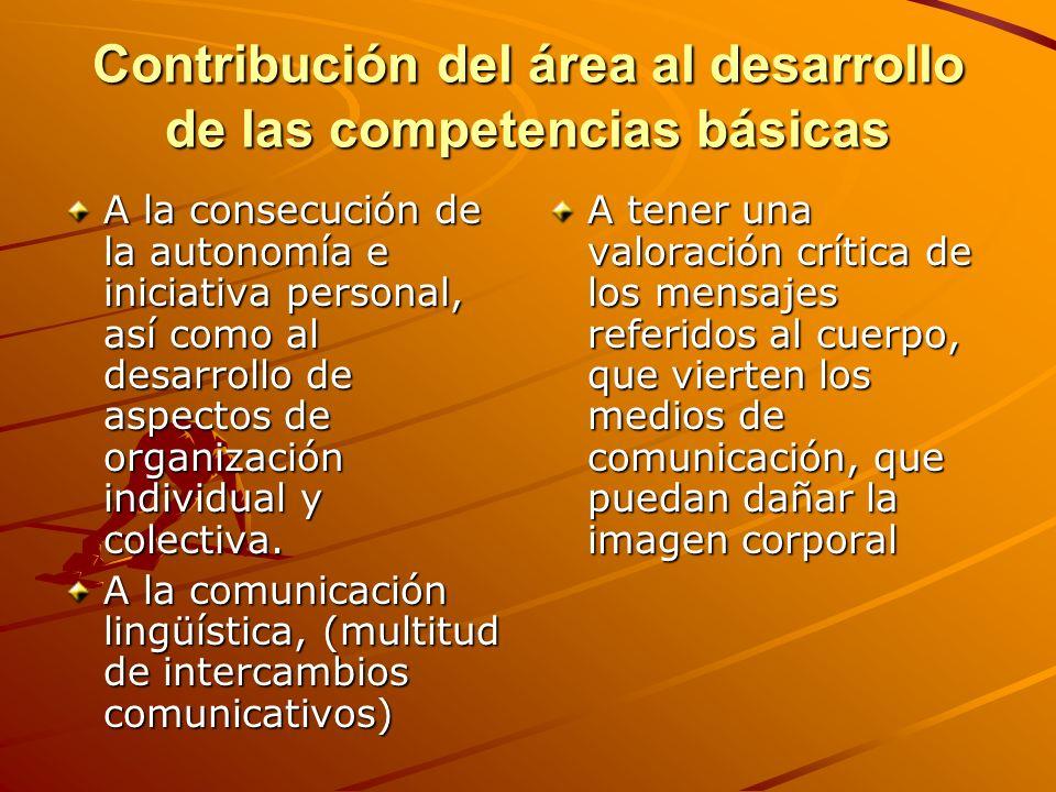 Contribución del área al desarrollo de las competencias básicas A la consecución de la autonomía e iniciativa personal, así como al desarrollo de aspe