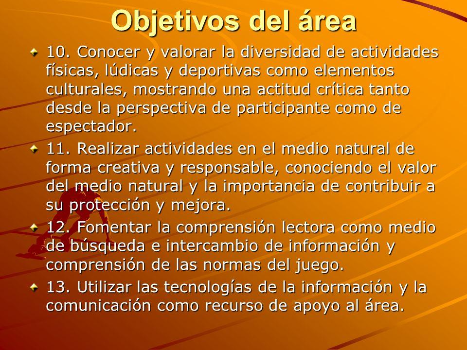Objetivos del área 10. Conocer y valorar la diversidad de actividades físicas, lúdicas y deportivas como elementos culturales, mostrando una actitud c