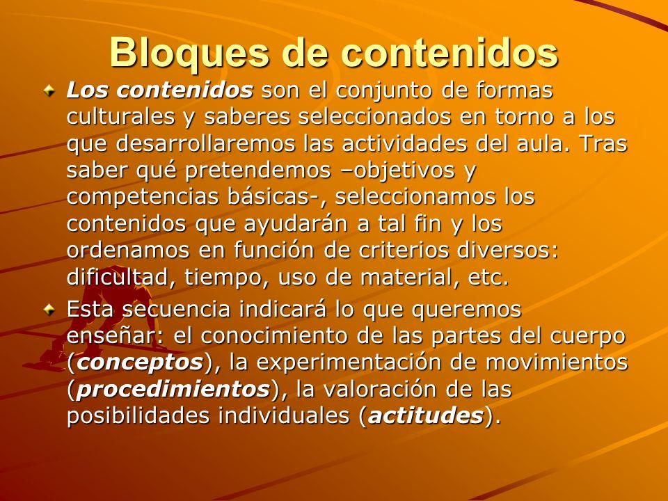 Bloques de contenidos Los contenidos son el conjunto de formas culturales y saberes seleccionados en torno a los que desarrollaremos las actividades d