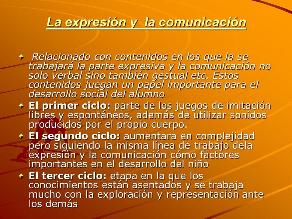 La expresión y la comunicación Relacionado con contenidos en los que la se trabajará la parte expresiva y la comunicación no solo verbal sino también