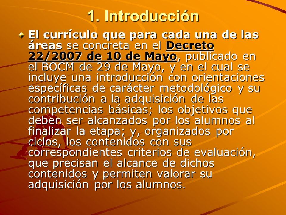1. Introducción El currículo que para cada una de las áreas se concreta en el Decreto 22/2007 de 10 de Mayo, publicado en el BOCM de 29 de Mayo, y en
