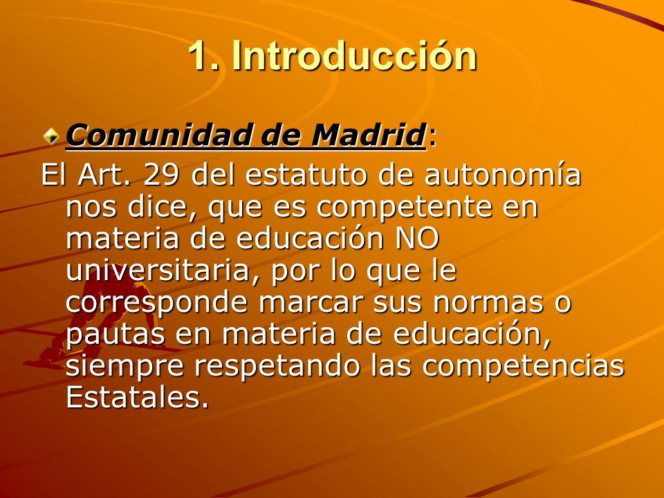 1. Introducción Comunidad de Madrid: El Art. 29 del estatuto de autonomía nos dice, que es competente en materia de educación NO universitaria, por lo