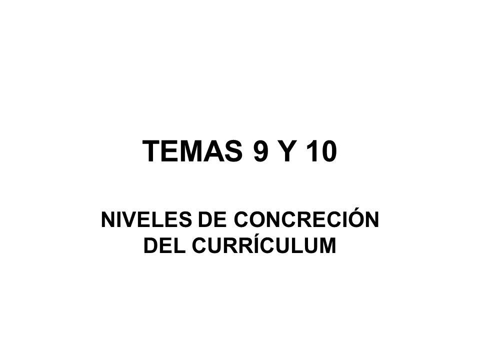 TEMAS 9 Y 10 NIVELES DE CONCRECIÓN DEL CURRÍCULUM