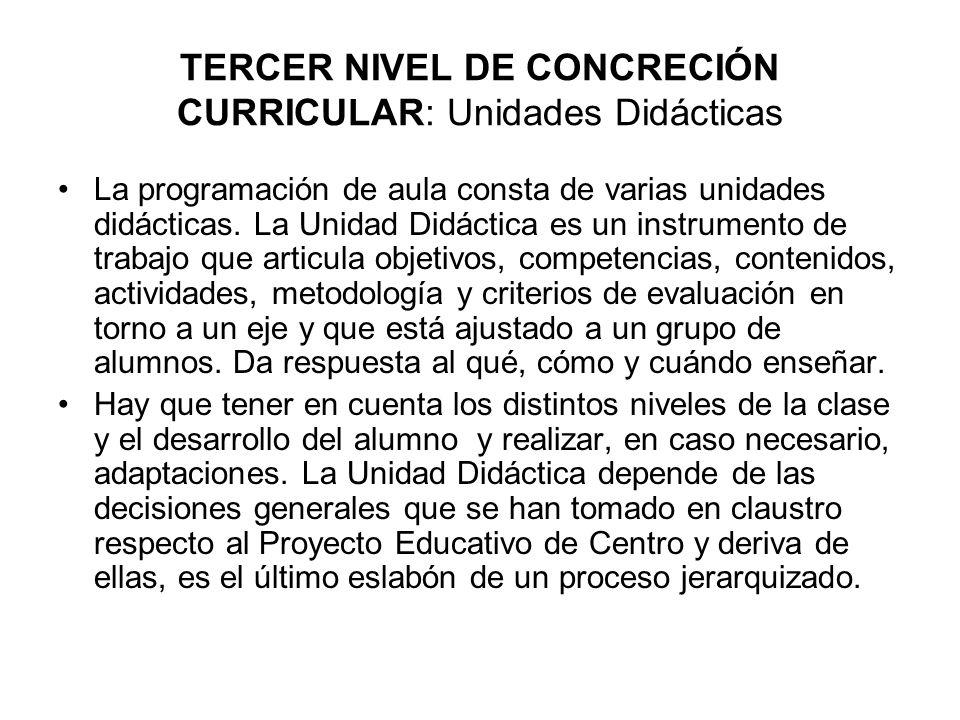TERCER NIVEL DE CONCRECIÓN CURRICULAR: Unidades Didácticas La programación de aula consta de varias unidades didácticas.