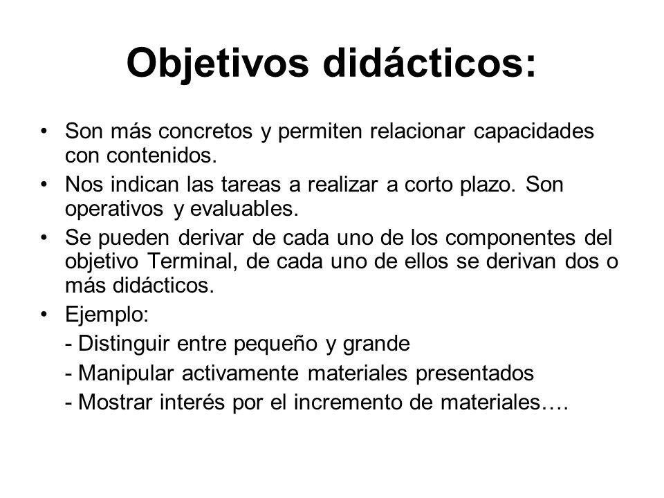 Objetivos didácticos: Son más concretos y permiten relacionar capacidades con contenidos. Nos indican las tareas a realizar a corto plazo. Son operati