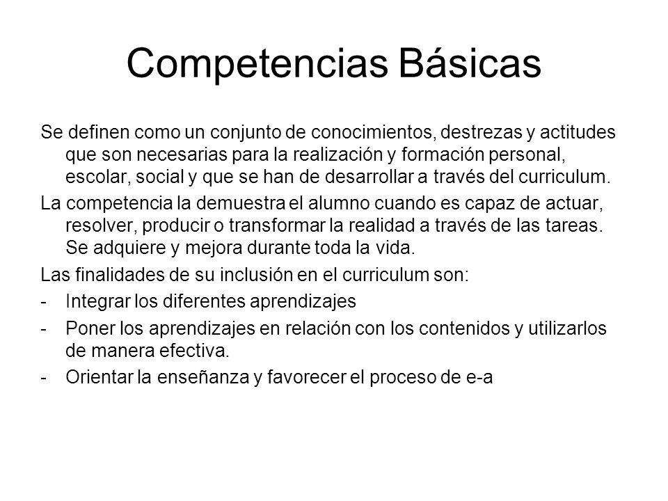 Competencias Básicas Se definen como un conjunto de conocimientos, destrezas y actitudes que son necesarias para la realización y formación personal,