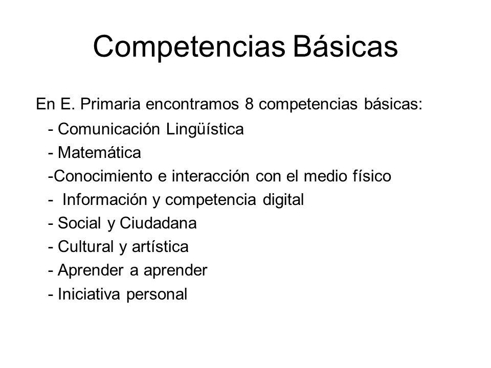 Competencias Básicas En E. Primaria encontramos 8 competencias básicas: - Comunicación Lingüística - Matemática -Conocimiento e interacción con el med
