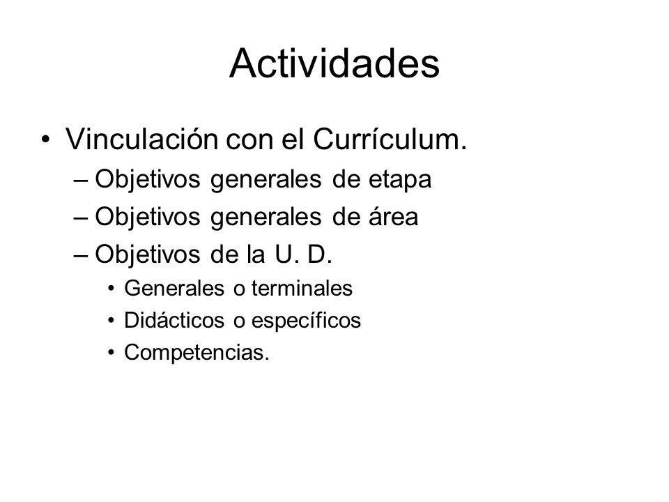 Actividades Vinculación con el Currículum. –Objetivos generales de etapa –Objetivos generales de área –Objetivos de la U. D. Generales o terminales Di