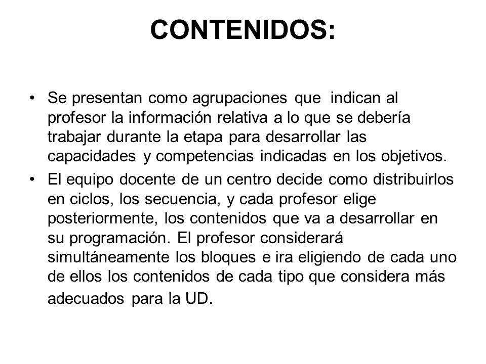 CONTENIDOS: Se presentan como agrupaciones que indican al profesor la información relativa a lo que se debería trabajar durante la etapa para desarrol