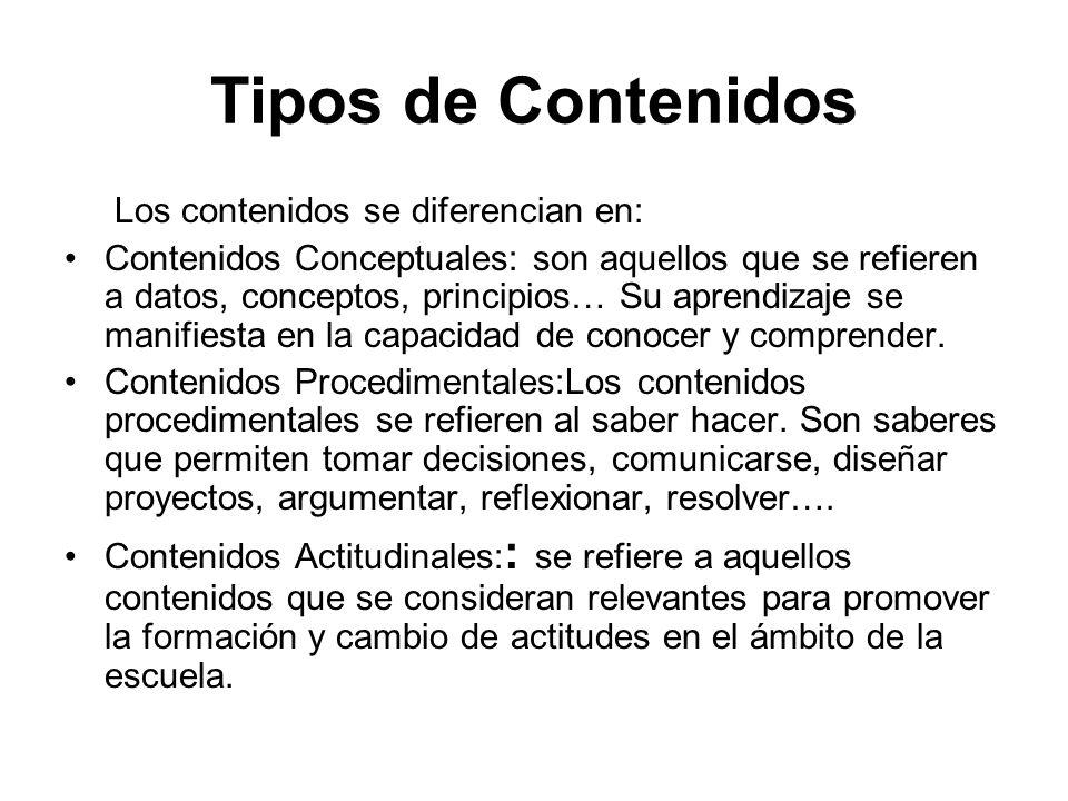 Tipos de Contenidos Los contenidos se diferencian en: Contenidos Conceptuales: son aquellos que se refieren a datos, conceptos, principios… Su aprendi
